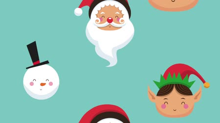 elfo : Santa claus elf and snowman faces falling over blue background high definition animation colorful scenes Stock Footage