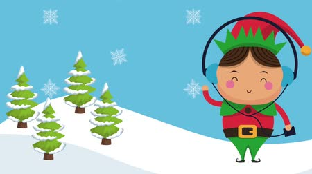 elfo : Cute christmas elf listen music from device at nature high definition animation colorful scenes