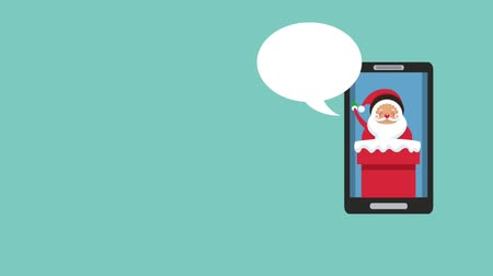 мультфильмы : Santa claus talking on smartphone screen cartoons high definition animation colorful scenes