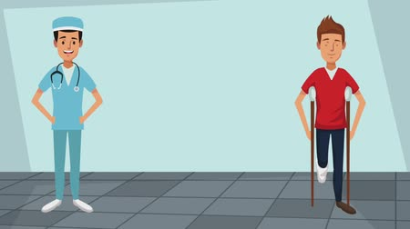 kule : Male doctor with patient on crutches high definition coloful animation scenes