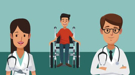 membro : Doctor and medical team with handicap kid on wheelchair high definition coloful animation scenes