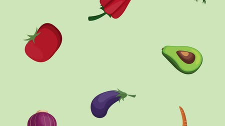 abacate : Organic vegetables falling background high definition animation colorful scenes Stock Footage