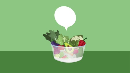 papája : Fresh vegetables in bowl with blank bubble speech high definition animation colorful scenes