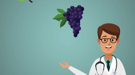 apple sign : Doctor cartoon with healthy fruits high definition animation colorful scenes