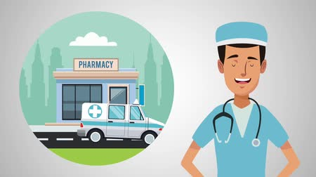 acil : Doctor and pharmacy store round icon cartoon high definition animation colorful scenes Stok Video