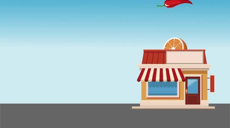 produce market : Store building and organic food falling inside high definition animation colorful scenes