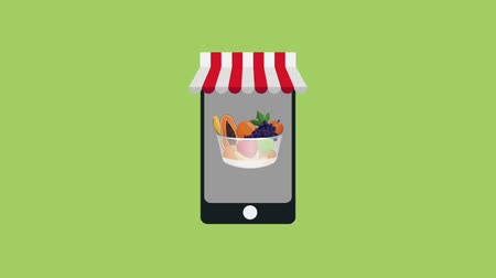 beringela : Healthy food online order from smartphone high definition animation colorful scenes