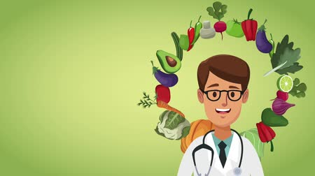 bakłażan : Doctor smiling with vegetables around cartoons over green background high definition animation colorful scenes