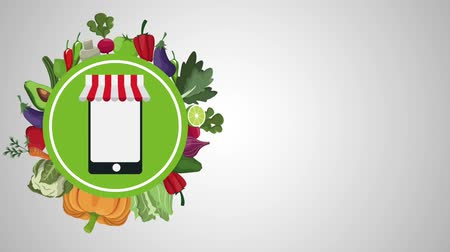 бакалейные товары : Healthy food online order from laptop round emblem high definition animation colorful scenes