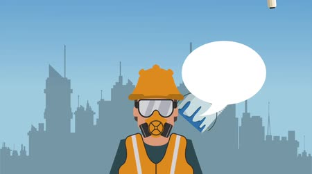 Worker with blanck speech bubble over cityscape High definition colorful scenes