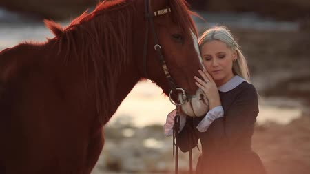minas gerais : Taking care of her horse Stock Footage