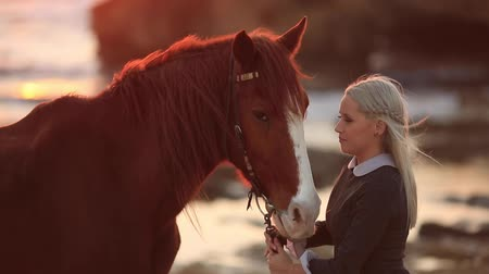bağlılık : Therapy with horses. Beautiful woman in black dress Stok Video