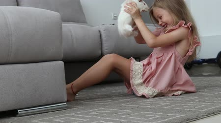 gine : girl holding guinea pig on the floor Stok Video
