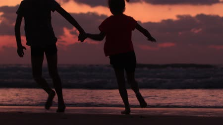 silhouettes of children run holding hands along the sea at sunset. Stok Video