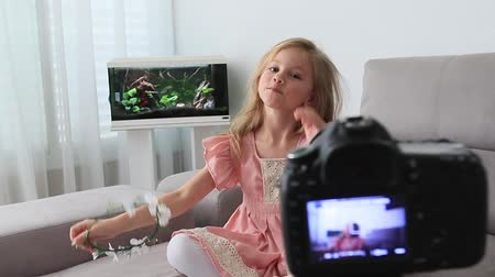 söylemek : Funny preschooler girl sit on couch look at camera waving having DSLR camera video blog conversation, smiling little child blogger shoot record video blog or vlog say hello to viewers subscribers