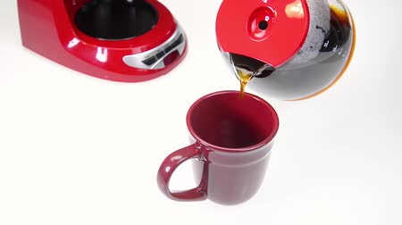 acorde : Red Coffee Cup with Fresh Brewed Coffee Stock Footage