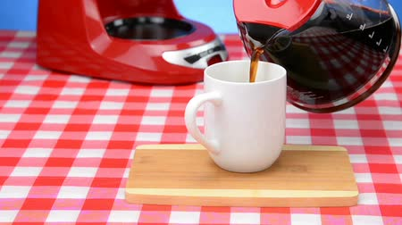 Red Coffee Cup with Fresh Brewed Coffee Dreamy Glow