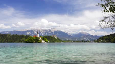 slovenya : Time lapse of Bled Lake in Slovenia