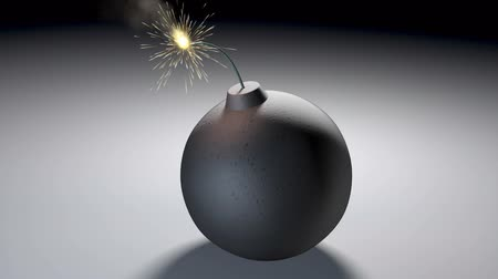 bola de fogo : 1080p video of a bomb lit fuse burning out and then exploding leaving a blast mark. Stock Footage