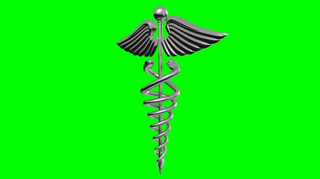 1080 HD stock video with a seamless loop if set to repeat. Its a chrome caduceus rotating over a green background. Vídeos
