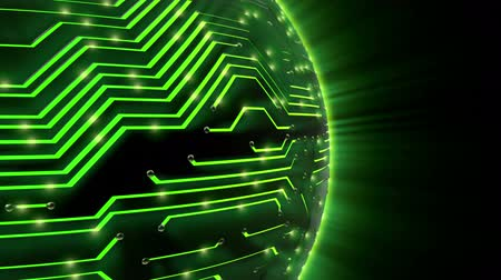 płytka drukowana : 1080p HD video of a globe made of a circuit board on a black background.