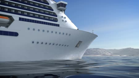 A 1080p HD video of a luxury cruise ship on the glassy ocean with camera panning.