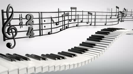 pontão : 1080p HD stock video animation of dancing piano keys and music notes waving above. Stock Footage