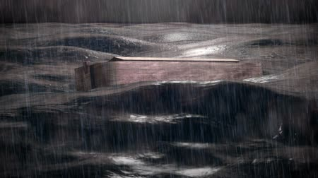 1080p stock video of Noahs Ark in the stormy ocean. Vídeos