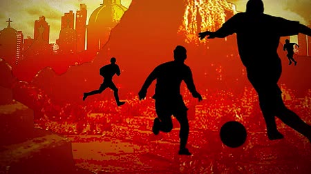 jogador de futebol : Motion graphic silhouette of football players and Tracking on orange background