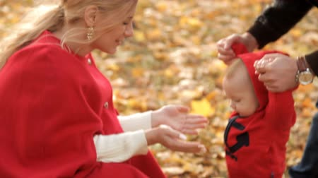 leisureactivity : Parents play with their child in a recreation park in the early autumn Stock Footage