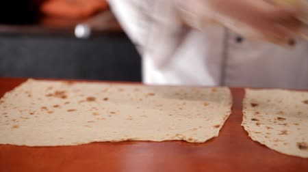 gyro : Preparation of lavash to shawarma Stock Footage