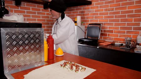 gyro : Preparation of shawarma in place of fast food Stock Footage
