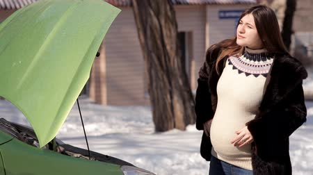 bum : In winter, a pregnant girl is looking for help from passing cars in the repair of a failed car