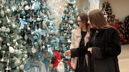companionship : two young woman walking on decorate street, girl watching christmas trees decorate toy and glowing garland