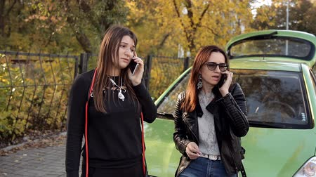 yol kenarı : The problem on the road. The breakdown of a car. Call technical assistance. Two women near a broken car Stok Video