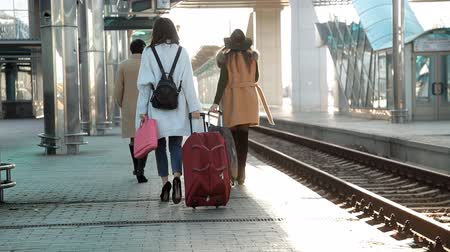 bilet : Rear view passengers with suitcases walking on the platform of the railway station. Three women with suitcases walking on the platform of the railway station Stok Video