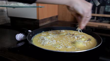 csöpögő : The girl cooks an omelet in the pan Stock mozgókép