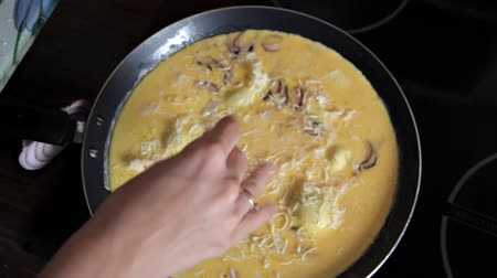 omeleta : The girl cooks an omelet in the pan Dostupné videozáznamy