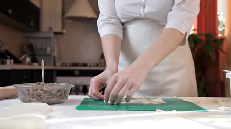 折り畳む : Girl in an apron preparing envelopes with mushrooms at home 動画素材