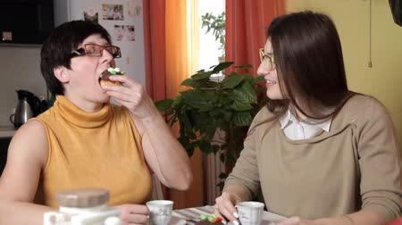 louça : mom and young daughter with glasses drink tea or coffee in the kitchen and eat cakes, talk, laugh Vídeos