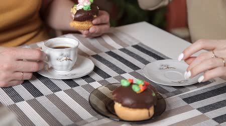 ships biscuit : close-up of the table on which there are tea, coffee cakes
