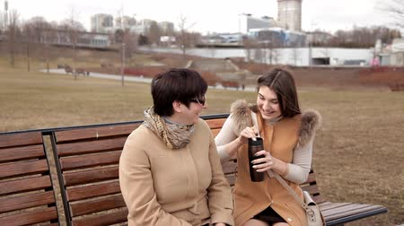 родственники : Spending time in the Park, chatting and laughing. Mother and adult daughter
