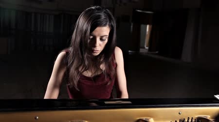 レッスン : Pianist musician piano music playing. Musical instrument grand piano with woman performer