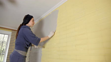 шпатель : Reconstruction of the house,construction of a Young woman putty walls of the house in the apartment before painting the window