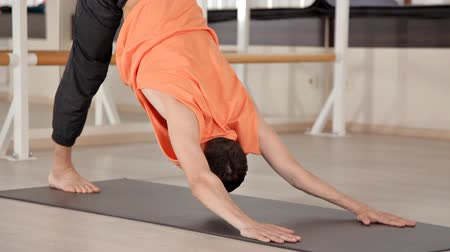 flexibilidade : Young yoga sports people practicing yoga, exercising, sports clothing, the concept of well-being at the yoga Studio Stock Footage