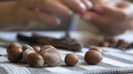 скольжение : Close-up of the hands of a girl who sits at a table and cleans a filbert. Tasty, healthy nuts