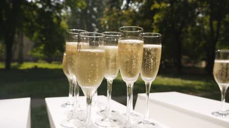 pezsgő : Glasses of champagne with bubbles standing on a white table on a background of nature. Slowmo