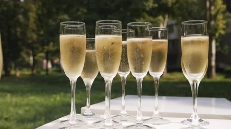 флейты : Glasses of champagne with bubbles standing on a white table on a background of nature
