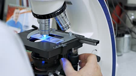 farmacologia : Scientist working at the laboratory. Lab microscope Stock Footage