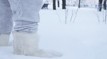 footgear : The legs of a young girl are walking in the snow in high boots, felt boots, ugg boots. A snowy winter park. Close-up